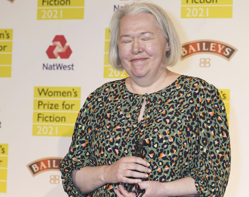 Susanna Clarke wins the Women's Prize for Fiction 2021 for her book 'Piranesi' in London, Wednesday Sept. 8, 2021. (Ian West/PA via AP)