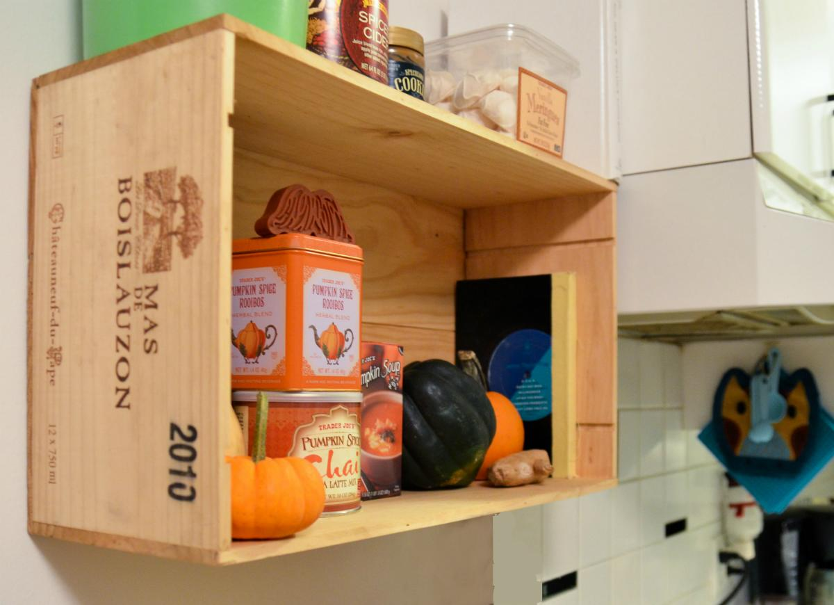 """<body> <p>This durable wine crate shelf takes an elevated approach to countertop clutter. To achieve a similar look, thoroughly clean a <a rel=""""nofollow"""" href="""" http://www.bobvila.com/slideshow/8-new-ways-to-use-old-wooden-crates-47760?bv=yahoo"""" title=""""repurposed wood crates"""" target=""""_blank"""">wooden crate</a>, stain it as desired, and mount the bottom of the crate on the wall, over a microwave, or under a cabinet to serve up stylish storage.</p>  <p><strong>Related:<a rel=""""nofollow"""" href="""" http://www.bobvila.com/slideshow/9-ideas-to-steal-from-real-people-s-kitchens-48898?bv=yahoo"""" title=""""http://www.bobvila.com/slideshow/9-ideas-to-steal-from-real-people-s-kitchens-48898"""" target=""""_blank"""">9 Ideas to Steal from Real People's Kitchens</a> </strong> </p> </body>"""