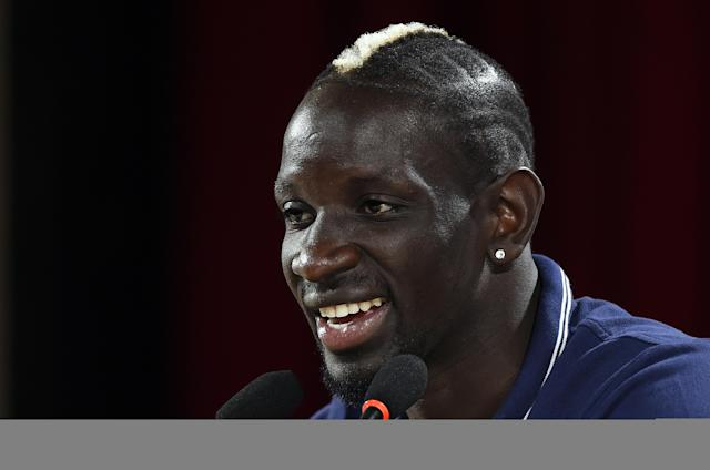 France's defender Mamadou Sakho gives a press conference at the theater in Ribeirao Preto on July 2, 2014 during the 2014 FIFA World Cup in Brazil (AFP Photo/Franck Fife)