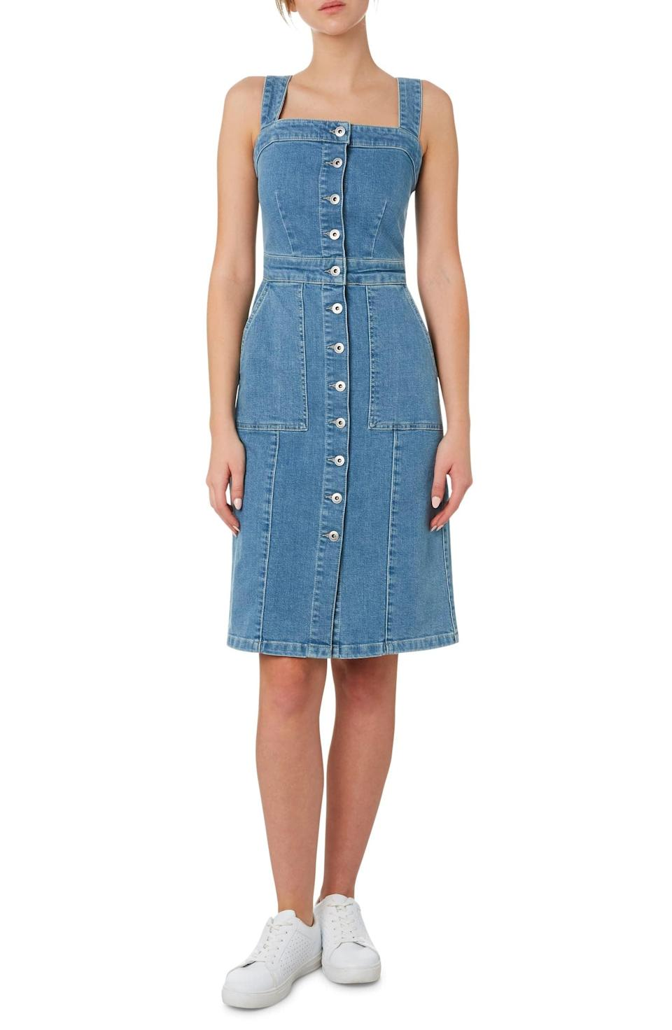 "<p>This <a href=""https://www.popsugar.com/buy/Outland-Denim-Button-Front-Stretch-Organic-Cotton-Dress-582012?p_name=Outland%20Denim%20Button%20Front%20Stretch%20Organic%20Cotton%20Dress&retailer=shop.nordstrom.com&pid=582012&price=265&evar1=fab%3Aus&evar9=35329485&evar98=https%3A%2F%2Fwww.popsugar.com%2Ffashion%2Fphoto-gallery%2F35329485%2Fimage%2F47550218%2FOutland-Denim-Button-Front-Stretch-Organic-Cotton-Dress&list1=shopping%2Cdenim%2Csummer%20fashion%2Cfashion%20shopping&prop13=mobile&pdata=1"" class=""link rapid-noclick-resp"" rel=""nofollow noopener"" target=""_blank"" data-ylk=""slk:Outland Denim Button Front Stretch Organic Cotton Dress"">Outland Denim Button Front Stretch Organic Cotton Dress</a> ($265) is a comfy pick.</p>"
