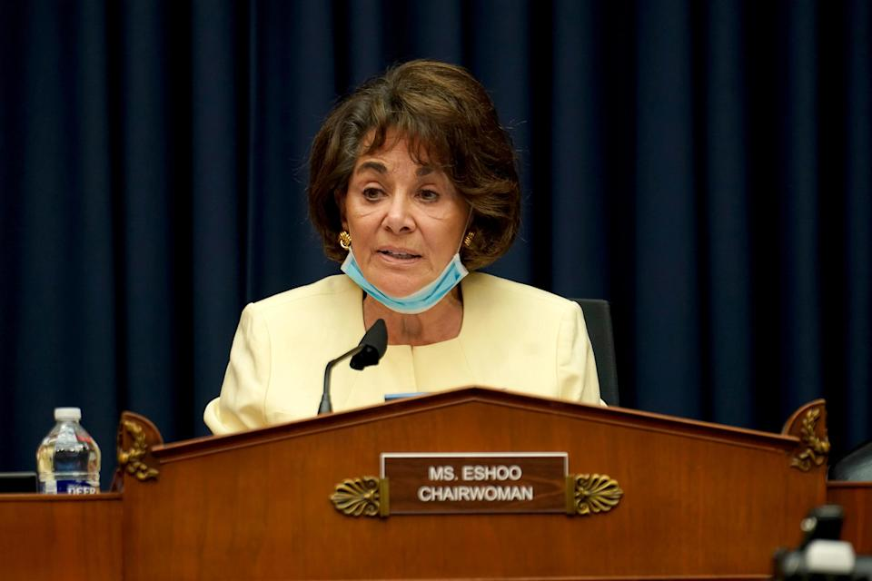Rep. Anna Eshoo gives an opening statement during Thursday's hearing. (Greg Nash/Pool via Reuters)