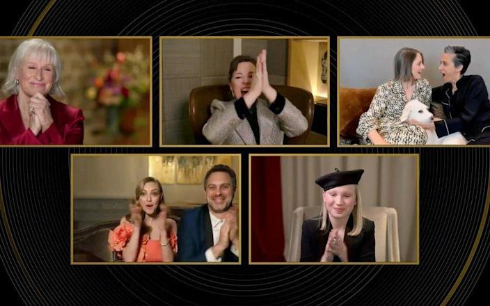 The Best Actress nominees, including the flummoxed winner Jodie Foster (top right) - Reuters