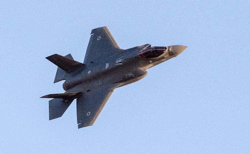 A file picture shows an Israeli Air Force F-35 Lightning II fighter jet performing at an air show in the Negev desert, near the southern Israeli city of Beer Sheva, on June 29, 2017