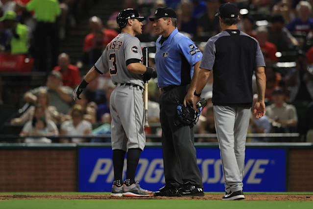 Ian Kinsler had some harsh words for Angel Hernandez following a recent ejection. (Photo by Ronald Martinez/Getty Images)