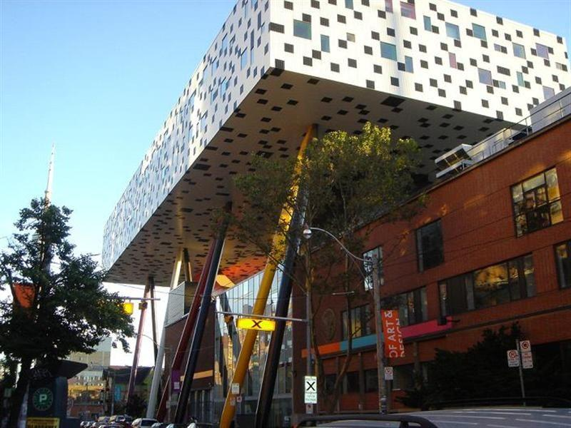 <b>3. Sharp Centre for Design; Toronto, Canada</b> Although some call it innovative, there are others who call it intolerable. While the building's black and white squares combined with pencil-like stilt supports make it look like a clubhouse for crossword puzzle enthusiasts, this building is actually part of the Ontario College of Art & Design.