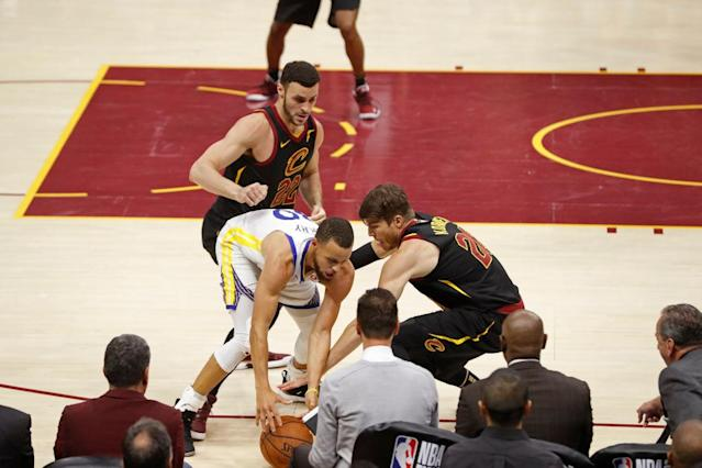 The Cavaliers worked to trap Stephen Curry on the ball, to jostle him off it, and to generally fluster the Warriors with their physicality. It worked for a while … and then it stopped. (Getty)