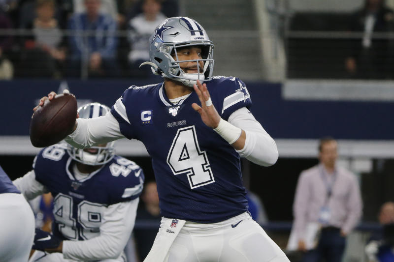 Dak Prescott is dealing with a shoulder injury. (AP Photo/Michael Ainsworth)