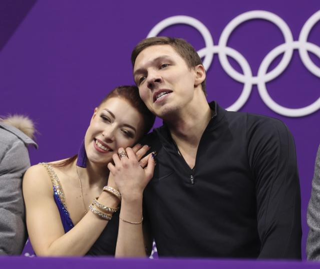 Figure Skating - Pyeongchang 2018 Winter Olympics - Ice Dance short dance competition - Gangneung Ice Arena - Gangneung, South Korea - February 19, 2018 - Ekaterina Bobrova and Dmitri Soloviev, Olympic athletes from Russia, react to their score. REUTERS/Lucy Nicholson