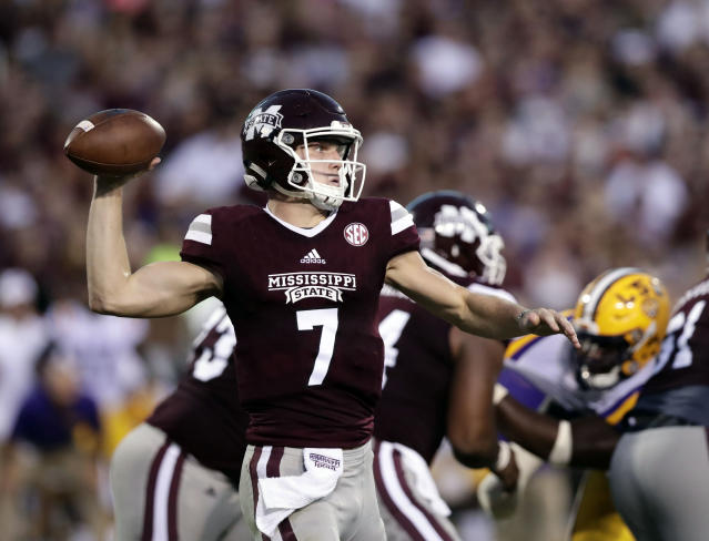 Mississippi State quarterback Nick Fitzgerald (7) prepares to pass against LSU during the first half of their NCAA college football game against in Starkville, Miss., Saturday, Sept. 16, 2017. (AP Photo/Rogelio V. Solis)