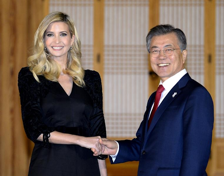 Ivanka Trump stressed the need to keep up 'maximum pressure' on the North while South Korean President Moon Jae-in said it was important to build on the current rapprochement (AFP Photo/Kim Min-Hee)
