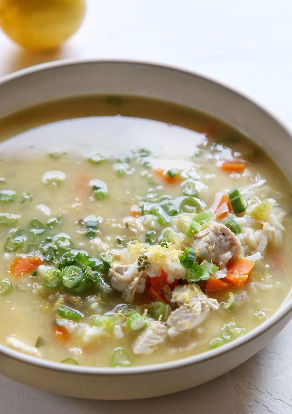 "<p>Spoiler: Chicken soup is way more comforting when it doesn't come out of a can.</p><p>Get the recipe from <a href=""https://www.delish.com/cooking/recipe-ideas/recipes/a50412/lemon-chicken-rice-soup-recipe/"" rel=""nofollow noopener"" target=""_blank"" data-ylk=""slk:Delish"" class=""link rapid-noclick-resp"">Delish</a>.</p>"