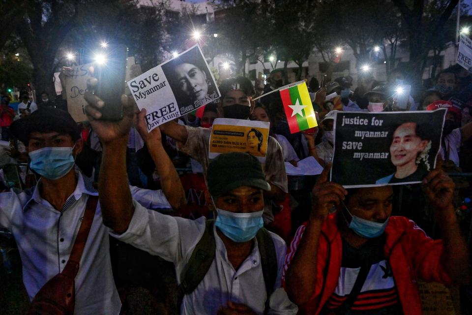 Myanmar migrants in Thailand protest against the military coup in their home country. Source: Getty
