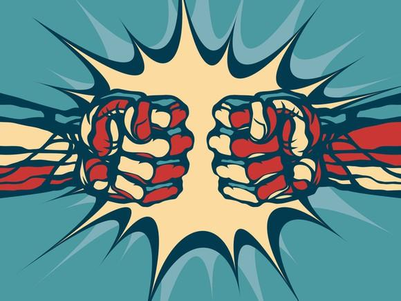 Comic book-style illustration of two fists clashing.