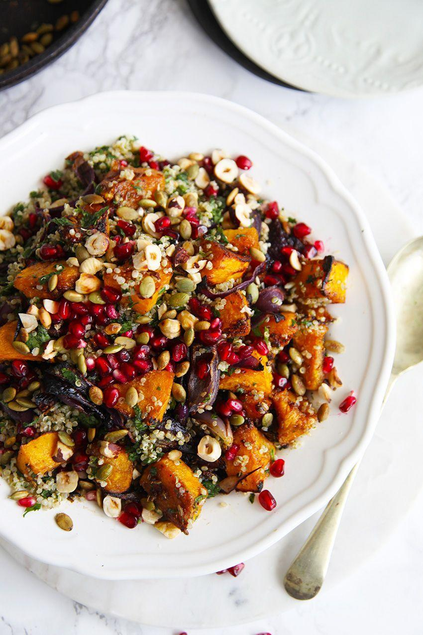 """<p>Our favorite <a href=""""https://www.countryliving.com/food-drinks/g3626/fall-salads/"""" rel=""""nofollow noopener"""" target=""""_blank"""" data-ylk=""""slk:fall salads"""" class=""""link rapid-noclick-resp"""">fall salads</a> are the ones that are as flavorful as they are nice to look at. A garnish of pomegranate seeds keeps this one colorful and vibrant.</p><p><strong>Get the recipe <a href=""""http://littlebigh.com/roasted-pumpkin-quinoa-salad/"""" rel=""""nofollow noopener"""" target=""""_blank"""" data-ylk=""""slk:Little Big H"""" class=""""link rapid-noclick-resp"""">Little Big H</a>.</strong></p><p><strong><a class=""""link rapid-noclick-resp"""" href=""""https://go.redirectingat.com?id=74968X1596630&url=https%3A%2F%2Fwww.wayfair.com%2Fkitchen-tabletop%2Fpdp%2Fetchey-bamboo-serving-hands-salad-ehey1965.html&sref=https%3A%2F%2Fwww.countryliving.com%2Ffood-drinks%2Fg619%2Four-best-pumpkin-recipes-1008%2F"""" rel=""""nofollow noopener"""" target=""""_blank"""" data-ylk=""""slk:SHOP SALAD SERVERS"""">SHOP SALAD SERVERS</a><br></strong></p>"""