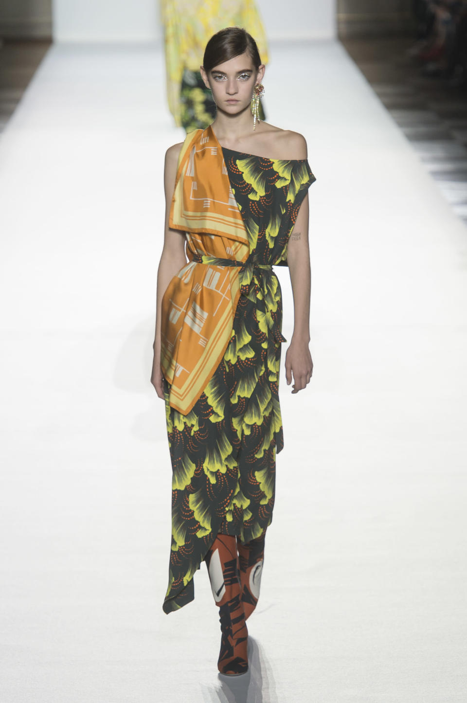 <p><i>Orange and green print dress from the SS18 Dries Van Noten collection. (Photo: ImaxTree) </i></p>