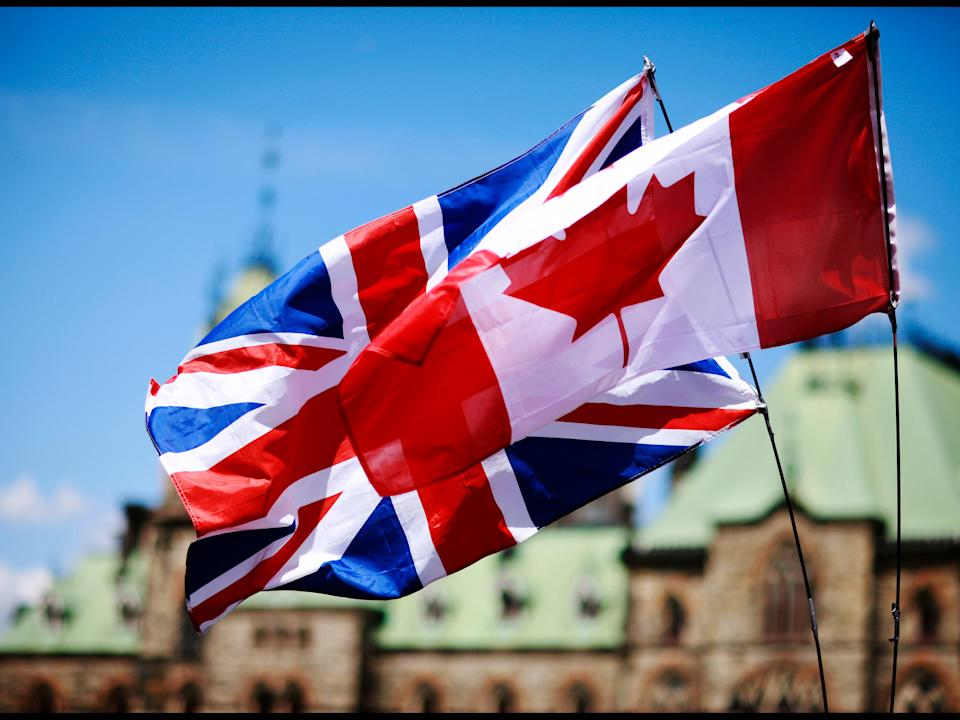 Canadian and British flag.