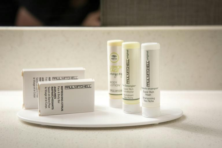 Small plastic bottles of shampoo, conditioner and body lotion sit in a bathroom in a room at a SpringHill Suites, a hotel operated by Marriott on August 28, 2019 in New Orleans, Louisiana