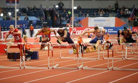 Athletics - European Athletics Indoor Championship - Men's 60m Hurdles Final - Kombank Arena, Belgrade, Serbia - 03/03/17 - Andy Pozzi of Britain, Pascal Martinot-Lagarde and Aurel Manga of France, Orlando Ortega of Spain and Andreas Martinsen of Denmark in action. REUTERS/Novak Djurovic -