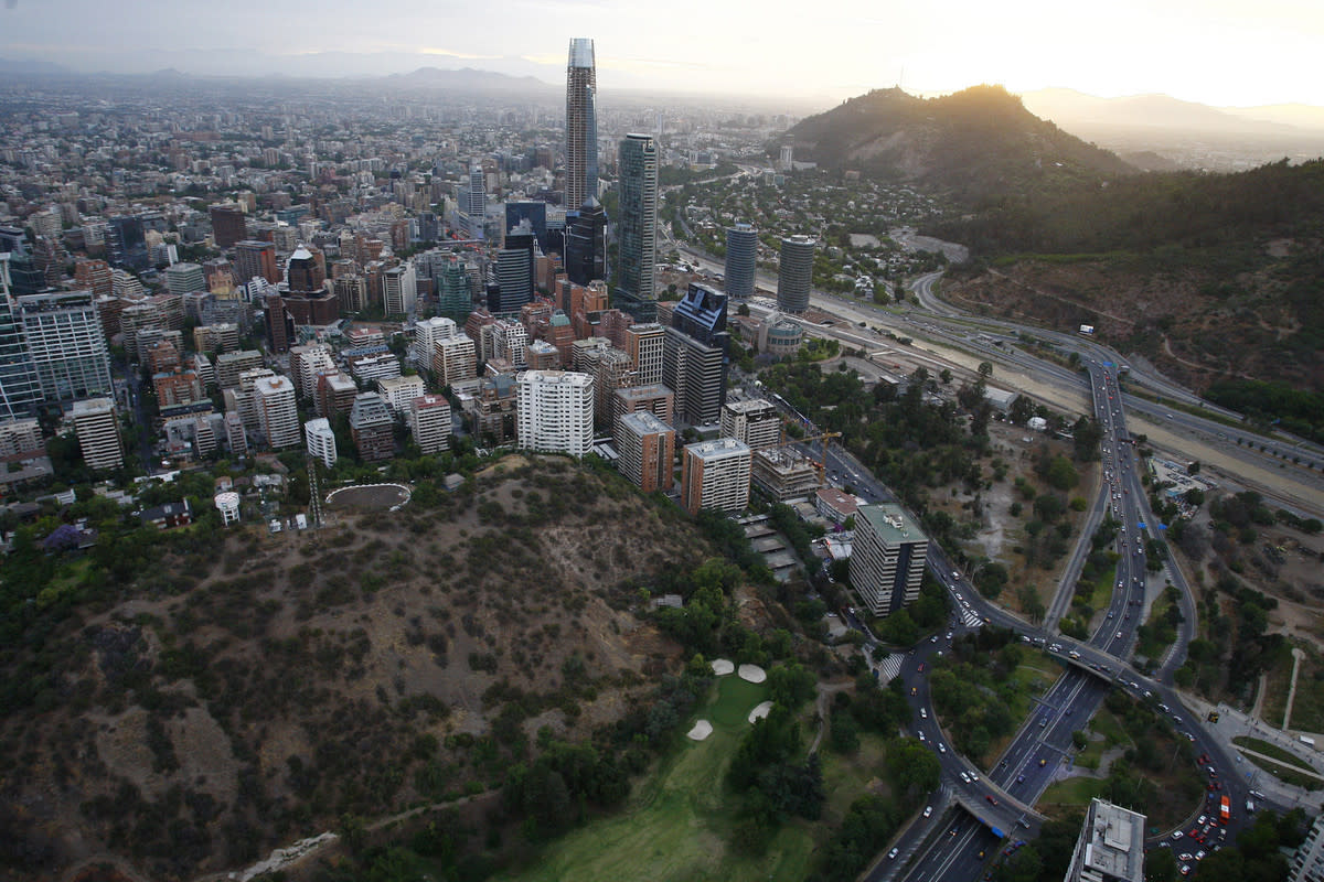 SANTIAGO, CHILE - FEBRUARY 14: Aerial view of Santiago de Chile on February 14, 2015 in Santiago de Chile, Chile. Santiago will be one of the eight host cities of the next Copa America Chile 2015 from June 11th to July 04th. (Photo by Marcelo Hernandez/LatinContent/Getty Images)