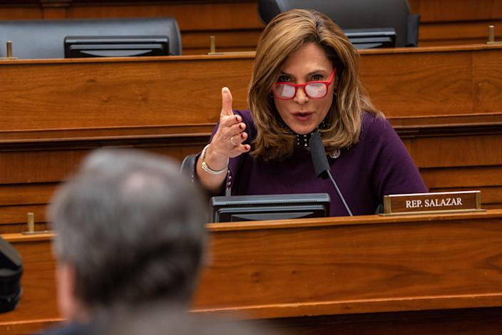 <p>WASHINGTON, DC - MARCH 10:  U.S. Rep. Maria Elvira Salazar (R-FL) questions Secretary of State Antony Blinken during a hearing of the House Committee on Foreign Affairs on Capitol Hill on March 10, 2021 in Washington, DC. </p> ((Photo by Ken Cedeno-Pool/Getty Images))