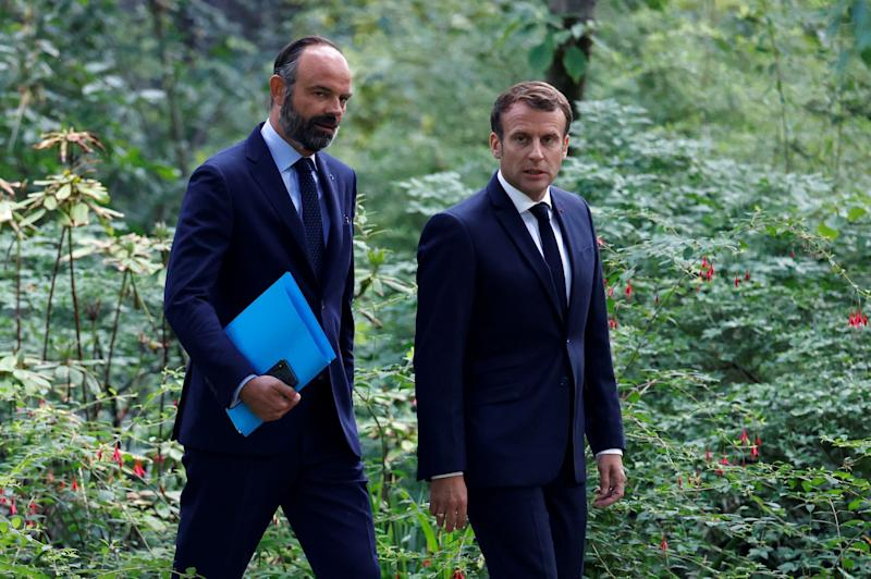 French President Emmanuel Macron (R) and French Prime Minister Edouard Philippe (Photo by CHRISTIAN HARTMANN / POOL / AFP) (Photo by CHRISTIAN HARTMANN/POOL/AFP via Getty Images) (Photo: CHRISTIAN HARTMANN via Getty Images)