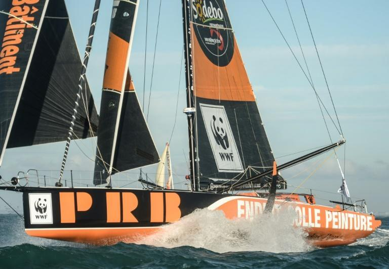 French skipper Kevin Escoffier had to abandon his Imoca class 60 monohull PRB in the Atlantic oiff the Cape of Good Hope