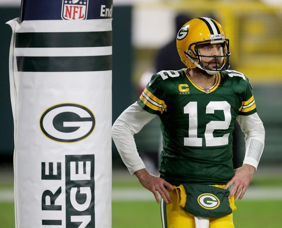 Green Bay Packers quarterback Aaron Rodgers (12) during the 3rd quarter of the Green Bay Packers 32-18 win over the Los Angeles Rams during the NFC divisional playoff game Saturday, Jan. 16, 2021, at Lambeau Field in Green Bay, Wis.