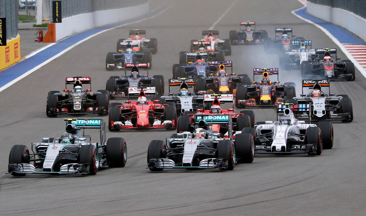 FILE PHOTO -  Formula One drivers start the Russian F1 Grand Prix in Sochi, Russia, October 11, 2015.  REUTERS/Grigory Dukor/File Photo                        GLOBAL BUSINESS WEEK AHEAD PACKAGE - SEARCH BUSINESS WEEK AHEAD 27 FEB  FOR ALL IMAGES