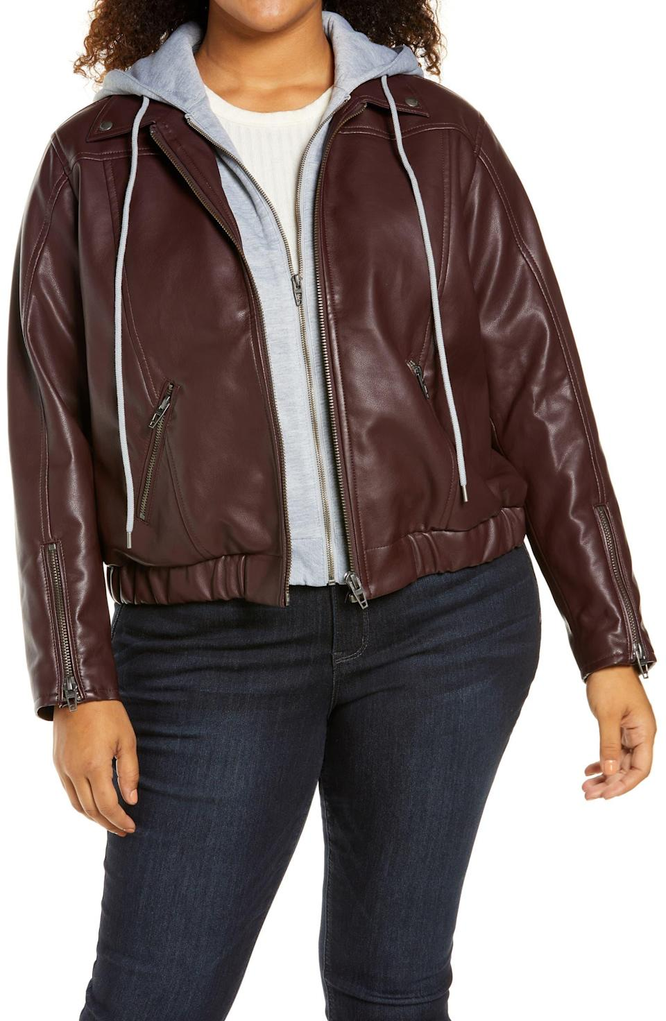 """<br><br><strong>BLANKNYC</strong> Faux Leather Bomber Jacket with Removable Hood, $, available at <a href=""""https://go.skimresources.com/?id=30283X879131&url=https%3A%2F%2Fwww.nordstrom.com%2Fs%2Fblanknyc-faux-leather-bomber-jacket-with-removable-hood%2F6598425"""" rel=""""nofollow noopener"""" target=""""_blank"""" data-ylk=""""slk:Nordstrom"""" class=""""link rapid-noclick-resp"""">Nordstrom</a>"""