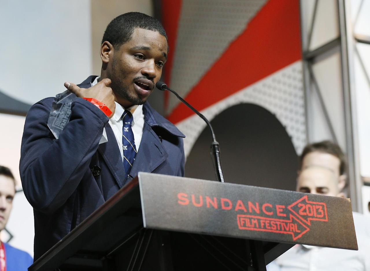"Director and screenwriter Ryan Coogler accepts the U.S. Grand Jury Prize: Dramatic for ""Fruitvale"" during the 2013 Sundance Film Festival Awards Ceremony on Saturday, Jan. 26, 2013 in Park City, Utah. (Photo by Danny Moloshok/Invision/AP)"