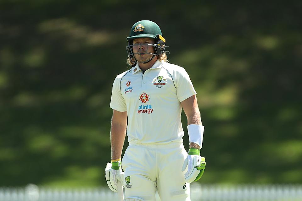 Will Pucovski of Australia A looks on during day two of the three-day tour match between Australia A and India A at Drummoyne Oval on December 07, 2020 in Sydney, Australia.