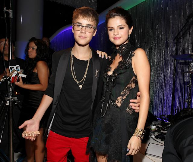 Selena Gomez and Justin Bieber at the 2011 MTV Video Music Awards at Nokia Theatre L.A. Live on Aug. 28, 2011, in Los Angeles. (Photo: Getty Images)