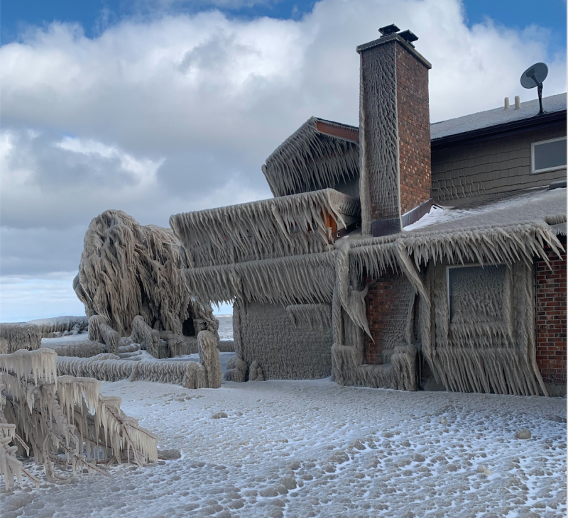 Lake Erie home encased in ice - submitted Hank Kleinfelder