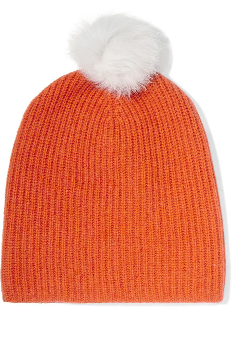 <p>This ribbed cashmere and wool blend hat features a shearling pom pom – and a whole lot of panache. </p>