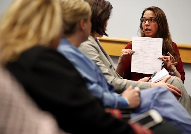 Hospital epidemiologist Dr. Shira Doron at a COVID-19 briefing for staff at Tufts Medical Center in Boston on March 13. (Craig F. Walker/The Boston Globe via Getty Images)