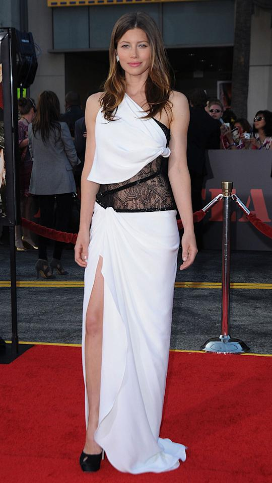 """<a href=""""http://movies.yahoo.com/movie/contributor/1800022448"""">Jessica Biel</a> at the Los Angeles premiere of <a href=""""http://movies.yahoo.com/movie/1808402981/info"""">The A-Team</a> - 06/03/2010"""