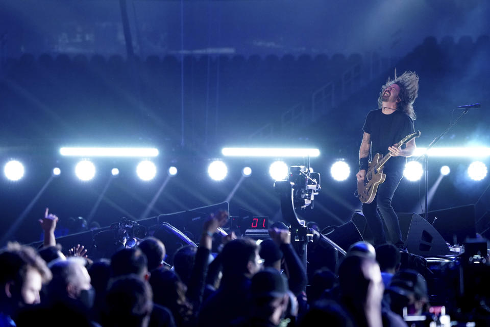 """Dave Grohl of Foo Fighters performs at """"Vax Live: The Concert to Reunite the World"""" on Sunday, May 2, 2021, at SoFi Stadium in Inglewood, Calif. (Photo by Jordan Strauss/Invision/AP)"""