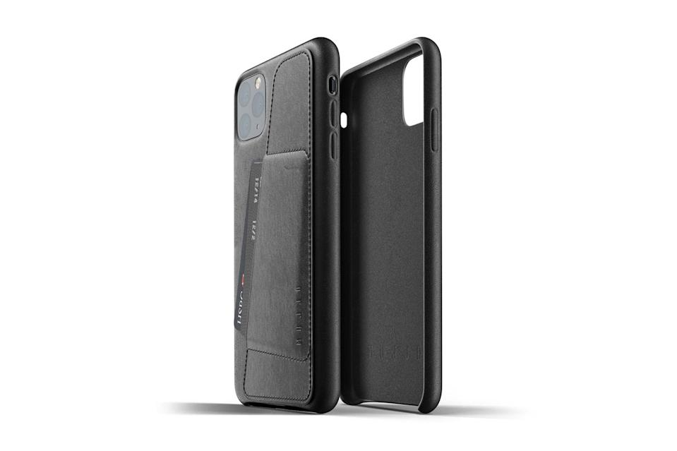 "$55, Huckberry. <a href=""https://huckberry.com/store/mujjo/category/p/60877-leather-iphone-11-pro-max-wallet-case"" rel=""nofollow noopener"" target=""_blank"" data-ylk=""slk:Get it now!"" class=""link rapid-noclick-resp"">Get it now!</a>"