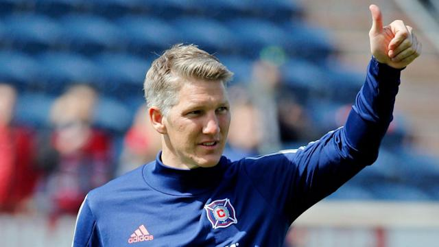 Bastian Schweinsteiger powered a header into the net after 17 minutes of his first game for Chicago Fire in MLS.