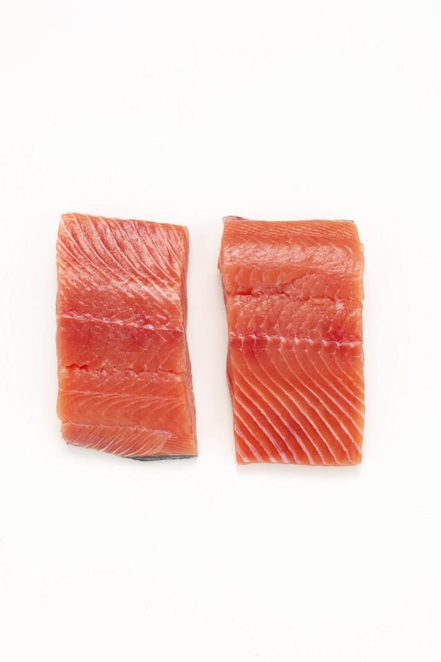 "<p><strong>Why it's bad</strong>: If you're doubling up your salmon intake because of all the amazing health benefits of those omega-3 fatty acids, you need to consider if you're buying wild caught or farm-raised. Farmed salmon are raised on an unnatural diet of grains, antibiotics, and other drugs, leaving the fish with gray flesh, which is then pinkened with <a href=""http://articles.mercola.com/sites/articles/archive/2013/07/10/banned-foods.aspx"" target=""_blank"">synthetic astaxanthin</a> made from petrochemicals. </p>"
