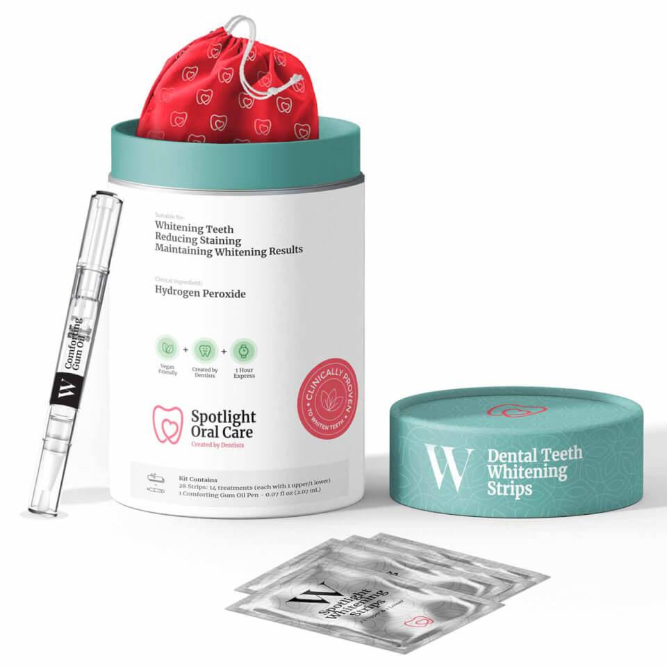 "<h3>Spotlight Oral Care Whitening System</h3><br>If you have sensitive teeth, you might have been resistant to try a whitening kit. Let us introduce you to this peroxide-free option, with ingredients like menthol and vitamin E oil to gently lift stains without stinging. (For a limited time, you can get 15% off with promo code FALL15.)<br><br><strong>Spotlight Oral Care</strong> Whitening System, $, available at <a href=""https://go.skimresources.com/?id=30283X879131&url=https%3A%2F%2Fus.lookfantastic.com%2Fspotlight-oral-care-whitening-system%2F12464734.html"" rel=""nofollow noopener"" target=""_blank"" data-ylk=""slk:LookFantastic"" class=""link rapid-noclick-resp"">LookFantastic</a>"