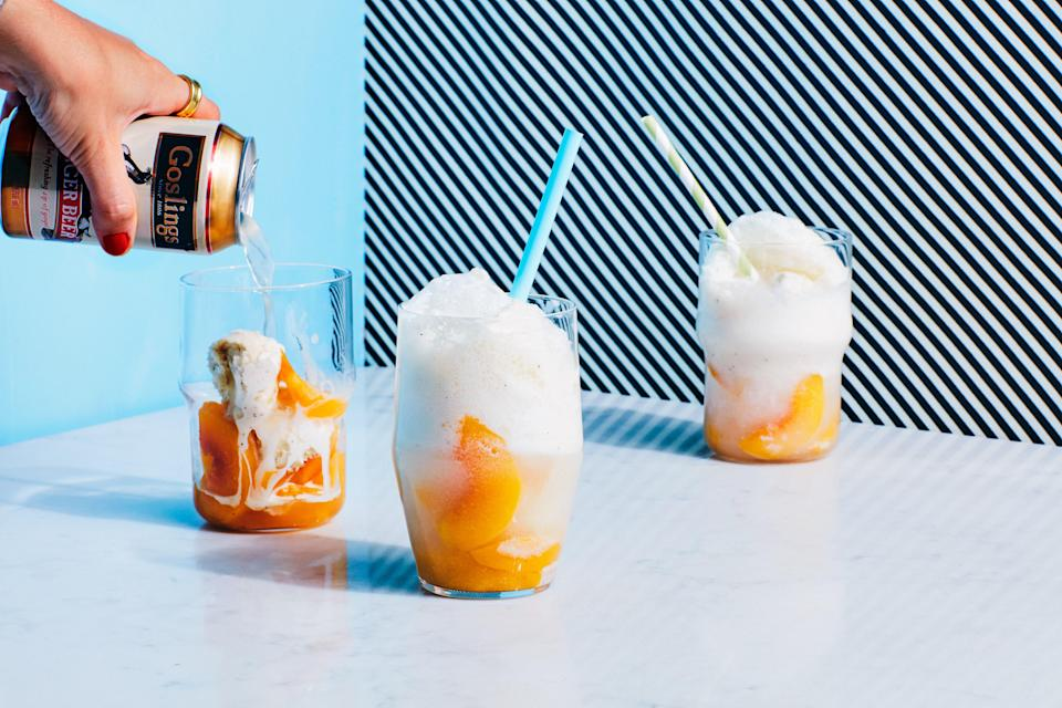 """<em><strong>In Epi's 3-Ingredient Recipes series, we show you how to make great food with just three ingredients (plus staples like oil, salt, and pepper).</strong></em><br> Poaching peaches in ginger beer infuses them with sweet, spicy flavor. Layer the poached fruit with ice cream and top with more ginger beer for a fun new take on a classic float. <a href=""""https://www.epicurious.com/recipes/food/views/3-ingredient-ginger-peach-ice-cream-floats?mbid=synd_yahoo_rss"""" rel=""""nofollow noopener"""" target=""""_blank"""" data-ylk=""""slk:See recipe."""" class=""""link rapid-noclick-resp"""">See recipe.</a>"""