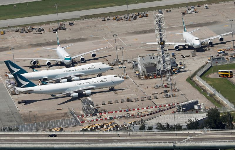 Cathay Pacific Airways planes are seen at the Hong Kong International Airport