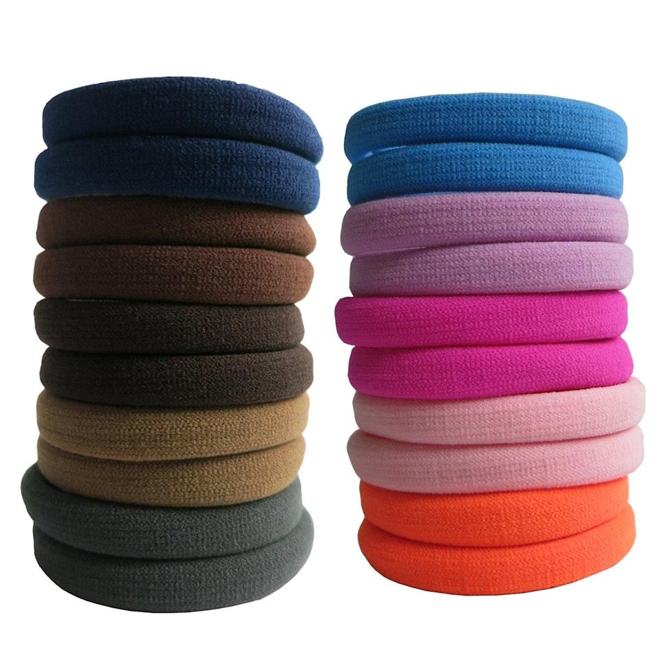 """<h3><a href=""""https://amzn.to/2HfyWsv"""" rel=""""nofollow noopener"""" target=""""_blank"""" data-ylk=""""slk:Seamless Cotton Scrunchies"""" class=""""link rapid-noclick-resp"""">Seamless Cotton Scrunchies</a></h3><br><strong>Jane</strong><br><br><strong>How She Discovered It:</strong> """"My hairdresser first gave me one because she said that the traditional hair ties broke my hair because of the strong elastic in them — so I thought I would make my own because I couldn't find ones that were multiple colored, but realized all the fabric was too expensive. A friend suggested Amazon and I found these seamless ones and the price was great."""" <br><br><strong>Why It's A Hidden Gem:</strong> """"It is really special to me because I am on a very tight budget and did start to realize my old elastics were breaking my hair and I was feeling bad about myself. This product and price point made me feel comfortable and better about myself and I have noticed a difference with my hair.""""<br><br><strong>BETITETO</strong> 20-Pack Seamless Cotton Scrunchies (Multicolor), $, available at <a href=""""https://amzn.to/2HfyWsv"""" rel=""""nofollow noopener"""" target=""""_blank"""" data-ylk=""""slk:Amazon"""" class=""""link rapid-noclick-resp"""">Amazon</a>"""