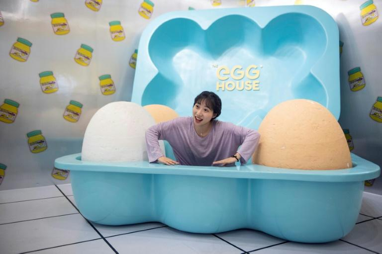 Once inside visitors can lose themselves in several egg-themed rooms