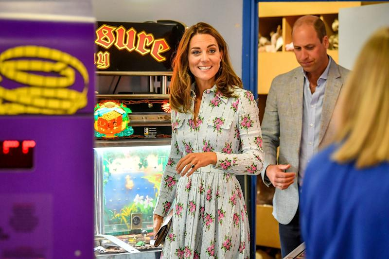 Kate and William visited Island Leisure amusement arcades on Barry Island which reopens to the public today (PA)