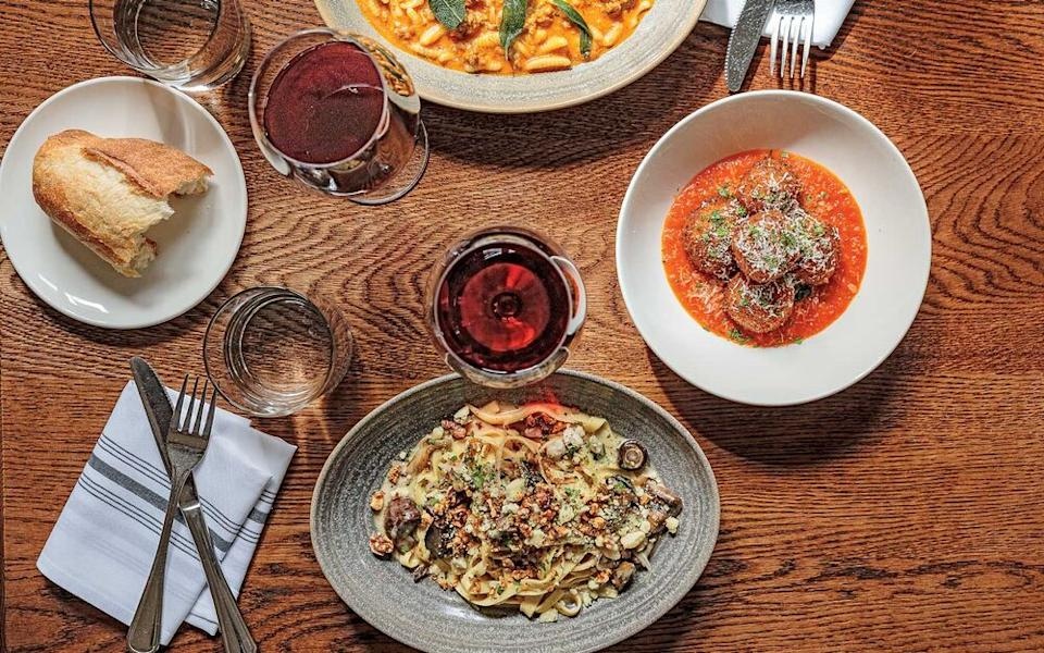 Dishes, including pasta and arancini, at Glorietta. | The Ingalls