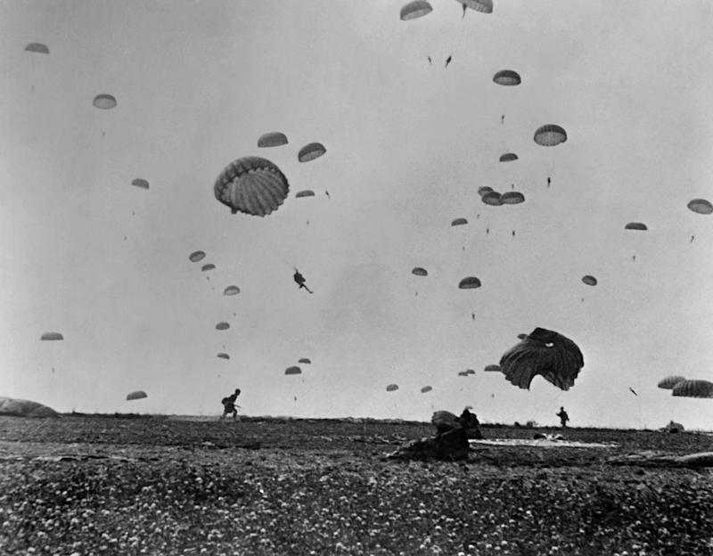 Paratroopers of the Allied Army land on La Manche, on the coast of France on June 6, 1944 after Allied forces stormed the Normandy beaches during D-Day.