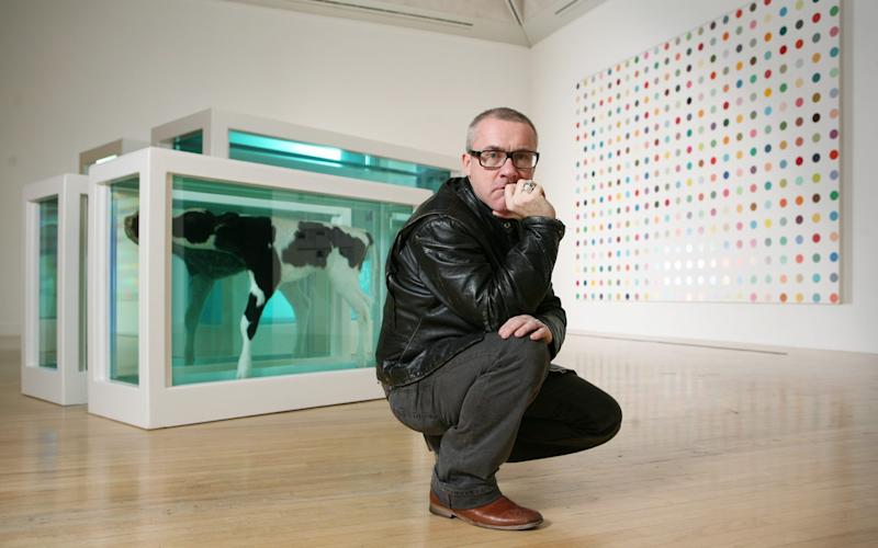 Damien Hirst with Mother and Child Divided in 2007