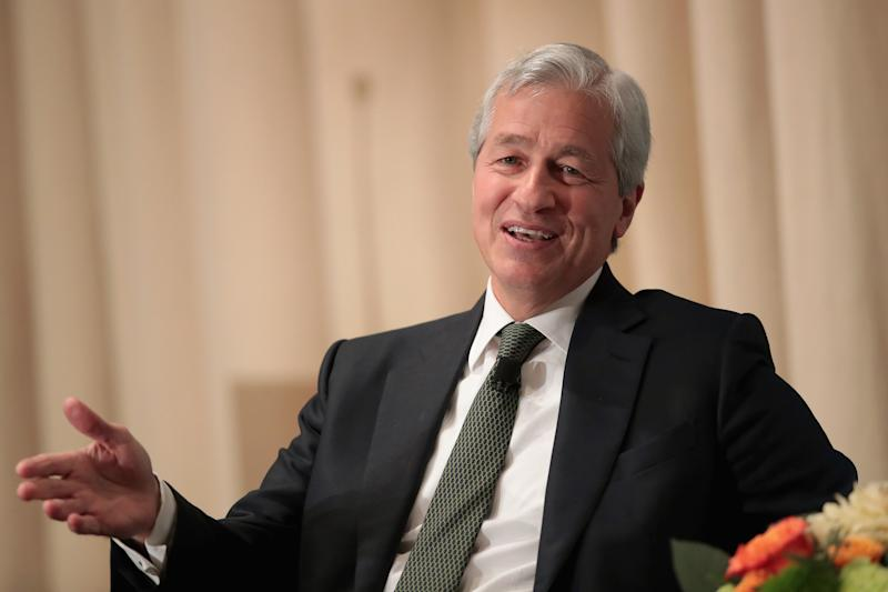 CHICAGO, IL - NOVEMBER 22: Jamie Dimon, Chairman and CEO of JPMorgan Chase & Co, fields questions from Mellody Hobson, president of Ariel Investments, during a luncheon hosted by The Economic Club of Chicago on November 22, 2017 in Chicago, Illinois. Dimon has been in charge of JPMorgan Chase since 2005. (Photo by Scott Olson/Getty Images)